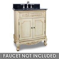 "Elements Hardware - Small Bathroom Vanities - 30 1/2"" Bathroom Vanity in Buttercream with Black Granite Top and Bowl"