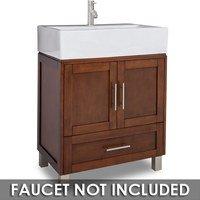 "Jeffrey Alexander - Small Bathroom Vanities - Vanity 28"" x 18-1/4"" x 36"" in Chocolate with White Top"