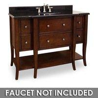 """Jeffrey Alexander - Large Bathroom Vanities - 48 1/2"""" Bathroom Vanity in Chocolate with Black Granite Top and Bowl"""