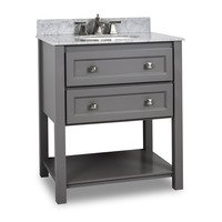 "Hardware Resources - Elements Large Bathroom Vanities - 31"" Bathroom Vanity with Preassembled Top and Bowl in Grey"