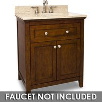 "Jeffrey Alexander - Large Bathroom Vanities - Vanity 30"" x 22"" x 36"" in Chocolate with Brown/Tan Top"