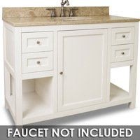 "Jeffrey Alexander - Large Bathroom Vanities - Vanity 48"" x 22"" x 36"" in Cream White with Brown/Tan Top"