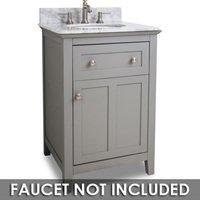 """Jeffrey Alexander - Small Bathroom Vanities - Vanity 24"""" x 22"""" x 36"""" in Grey with White Top"""