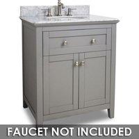 "Jeffrey Alexander - Large Bathroom Vanities - Vanity 30"" x 22"" x 36"" in Grey with White Top"