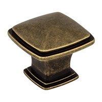 "Jeffrey Alexander - Milan Cabinet Hardware - 1 3/16"" Diameter Plain Square Knob in Lightly Distressed Antique Brass"