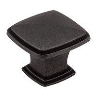 """Jeffrey Alexander - Milan Cabinet Hardware - 1 3/16"""" Plain Square Knob in Gun Metal"""