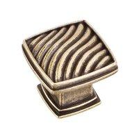 "Jeffrey Alexander - Encada Cabinet Hardware - 1 3/16"" Diameter Waved Square Knob in Lightly Distressed Antique Brass"