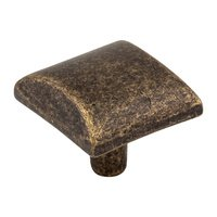 "Elements Hardware - Glendale Cabinet Hardware - 1 1/8"" Square Cabinet Knob in Distressed Antique Brass"