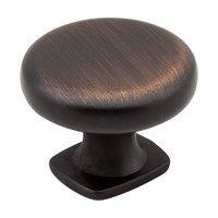 "Jeffrey Alexander - Belcastel Cabinet Hardware - 1 3/8"" Diameter Forged Look Flat Bottom Knob in Brushed Oil Rubbed Bronze"