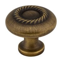 "Jeffrey Alexander - Lenior Cabinet Hardware - 1 1/4"" Diameter Knob with Rope Detail in Antique Brushed Satin Brass"