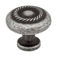 "Jeffrey Alexander - Lenior Cabinet Hardware - 1 1/4"" Diameter Knob with Rope Detail in Distressed Antique Silver"