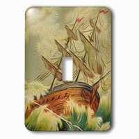 Jazzy Wallplates - Nautical - Single Toggle Wallplate With Vintage Boat On Rough Waters At Sea Nautical Illustration