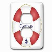 Jazzy Wallplates - Nautical - Single Duplex Outlet With Captain Lifesaver Ship Life Preserver Nautical Boat Ocean Sailing Yacht Sailor Sea Fisherman