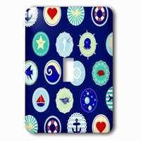 Jazzy Wallplates - Nautical - Single Toggle Wallplate With Sea Blue Nautical Decor Pattern Sailor Ocean Theme With Boat Fish Anchors And Aquatic Marine Life