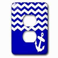 Jazzy Wallplates - Nautical - Single Duplex Outlet With Navy Blue And White Chevron With Nautical Anchor Sailor Zig Zag Pattern Waves Sea Ocean Zigzags