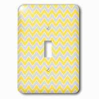 Jazzy Wallplates - Abstract - Single Toggle Wallplate With Chevron Pattern Yellow And Gray Zigzag