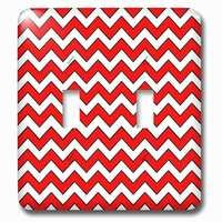 Jazzy Wallplates - Abstract - Double Toggle Wallplate With Chevron Pattern Red And White Zigzag