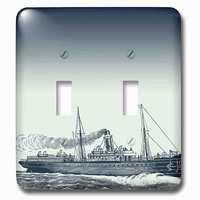 Jazzy Wallplates - Nautical - Double Toggle Wallplate With Blue Vintage Ship Nautical Theme Art