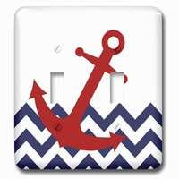 Jazzy Wallplates - Nautical - Double Toggle Wallplate With Red Nautical Boat Anchor On Chevron Pattern