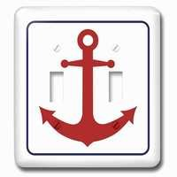 Jazzy Wallplates - Nautical - Double Toggle Wallplate With Red Boat Anchor Blue Outline