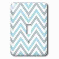 Jazzy Wallplates - Abstract - Single Toggle Wallplate With Light Blue And Grey Chevron Zig Zag Pattern Modern Pastel Zigzags
