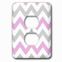 Jazzy Wallplates - Abstract - Single Duplex Outlet With Pink And Grey Chevron Zig Zag Pattern White Pastel Zigzag Stripes