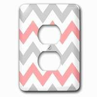 Jazzy Wallplates - Abstract - Single Duplex Outlet With Coral And Gray Chevron Zig Zag Pattern Orange Pink Grey Zigzags