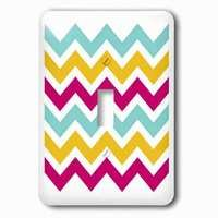 Jazzy Wallplates - Abstract - Single Toggle Wallplate With Turquoise, Tangerine And Pink Chevrons