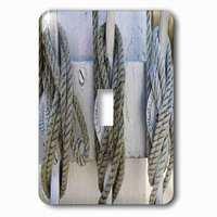 Jazzy Wallplates - Nautical - Single Toggle Wallplate With Print Of Nautical Knots Hung Up
