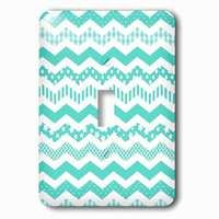 Jazzy Wallplates - Abstract - Single Toggle Wallplate With Turquoise Chevron Zigzag Pattern With A Twist. Cute Patterned Zig Zags