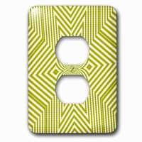 Jazzy Wallplates - Abstract - Single Duplex Outlet With Textile Pattern Lime Green And White Large Star