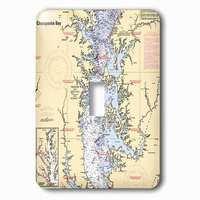 Jazzy Wallplates - Nautical - Single Toggle Wallplate With Print Of Nautical Chart Chesapeake Bay