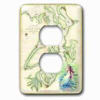 Jazzy Wallplates - Nautical - Single Duplex Outlet With Print Of Vintage Nautical Puget Sound Map