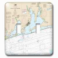 Jazzy Wallplates - Nautical - Double Toggle Wallplate With Print Of Nautical Map Of Pensacola Florida