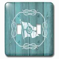 Jazzy Wallplates - Nautical - Double Toggle Wallplate With White Flag With Anchor Detail And Knotted Ropenot Real Wood