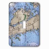 Jazzy Wallplates - Nautical - Single Toggle Wallplate With Nautical Chart Ii