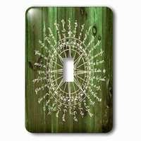 Jazzy Wallplates - Nautical - Single Toggle Wallplate With Antique Nautical Compass In White On Green Wood Effectnot Real Wood