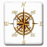 Jazzy Wallplates - Nautical - Double Toggle Wallplate With A Classic Compass Rose Nautical Design For Any Who Loves To Sail.