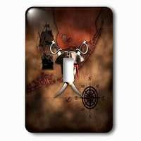 Jazzy Wallplates - Nautical - Single Toggle Wallplate With Pirate Skull And Crossed Swords Over A Nautical Pirate Map.