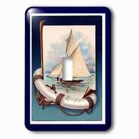 Jazzy Wallplates - Nautical - Single Toggle Wallplate With Vintage Sailboat N Anchor With Navy Blue Frame