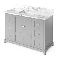"Jeffrey Alexander - Large Bathroom Vanities - 48"" Grey Addington Vanity, Calacatta Vienna Quartz Vanity Top, undermount rectangle bowl"