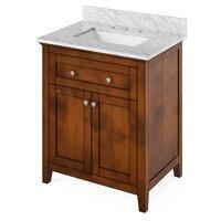 "Jeffrey Alexander - Large Bathroom Vanities - 30"" Hale Blue Chatham Vanity, Calacatta Vienna Quartz Vanity Top, undermount rectangle bowl"