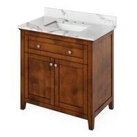 "Jeffrey Alexander - Small Bathroom Vanities - 36"" Hale Blue Chatham Vanity, Calacatta Vienna Quartz Vanity Top, undermount rectangle bowl"