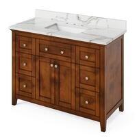 "Jeffrey Alexander - Large Bathroom Vanities - 48"" Hale Blue Chatham Vanity, Calacatta Vienna Quartz Vanity Top, undermount rectangle bowl"