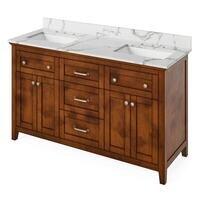 "Jeffrey Alexander - Large Bathroom Vanities - 60"" Chocolate Chatham Vanity, double bowl, Calacatta Vienna Quartz Vanity Top, two undermount rectangle bowls"