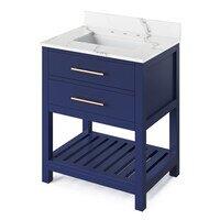 """Jeffrey Alexander - Large Bathroom Vanities - 30"""" Hale Blue Wavecrest Vanity, Calacatta Vienna Quartz Vanity Top, undermount rectangle bowl"""