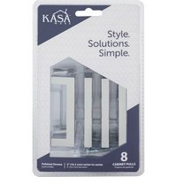 "Kasaware - Decorative Pulls - (8pc Pack) 3"" Centers Cabinet Pull in Polished Chrome"