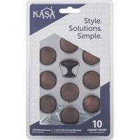 "Kasaware - Decorative Knobs - (10pc Pack) 1 3/16"" Diameter Cabinet Knob in Satin Nickel"