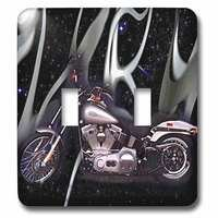 Jazzy Wallplates - Automobiles and Transportation - Double Toggle Switch Plate With Harley-Davidson® Motorcycle