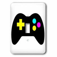 Jazzy Wallplates - Kids - Single Toggle Switchplate With Cmyk Gamer Control Icon Graphic Cartoon